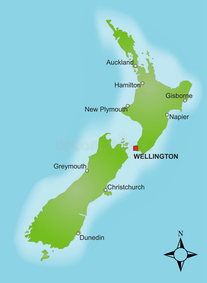 Map New Zealand. A stylized map of New Zealand showing different cities