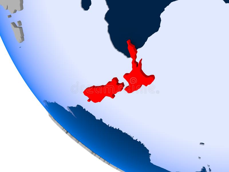 New Zealand on political globe stock illustration