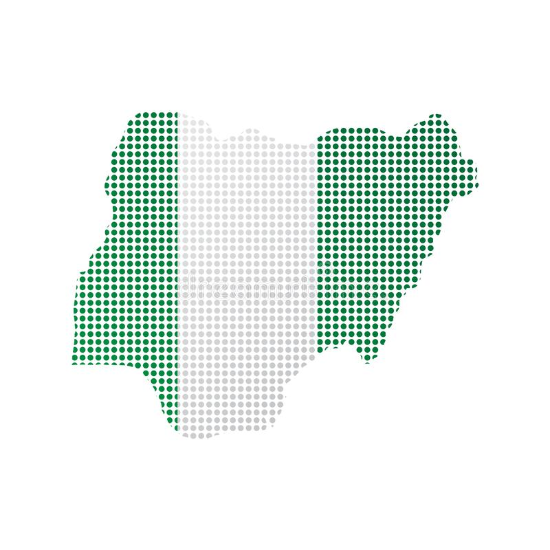 Map of Nigeria with flag stock illustration