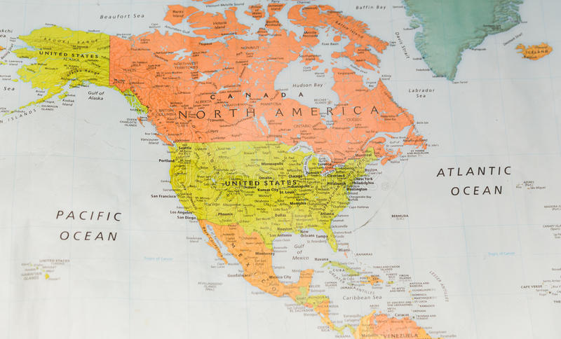Map of North America stock image. Image of discovery - 127739679