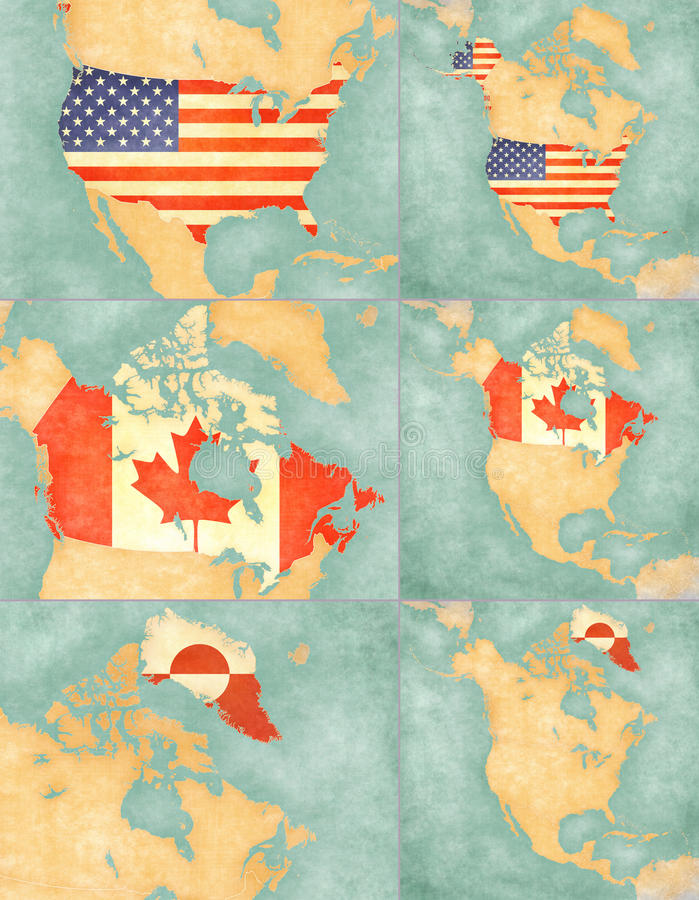 Map Of North America USA Canada And Greenland Stock - Map of north america and canada