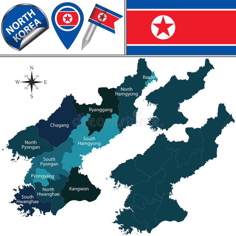 Map Of North Korea With Administrative Divisions Stock Vector