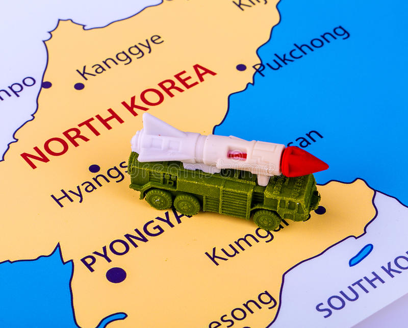 Map of North Korea with a military machine stock image