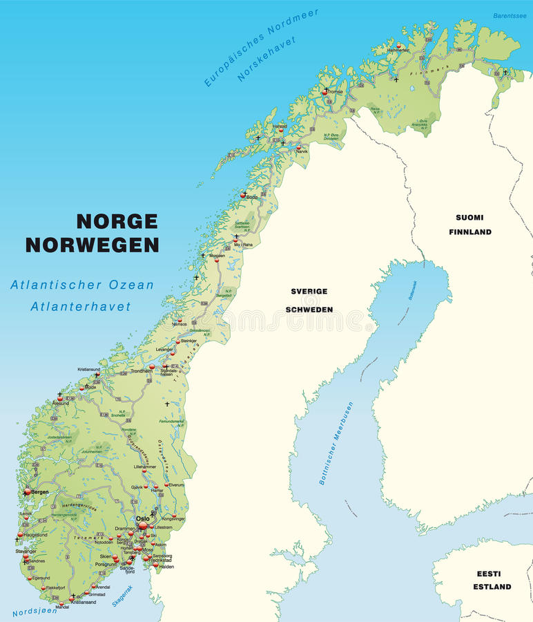 Download Map Of Norway With Highways Stock Illustration - Image: 23877617