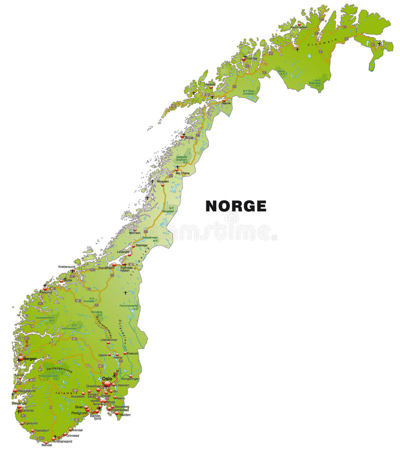 Map Of Norway With Highways Stock Illustration Image - Map of norway