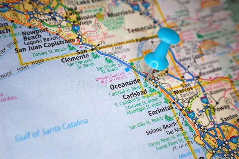 Oceanside, California. A map of Oceanside, California marked with a push pin stock photo