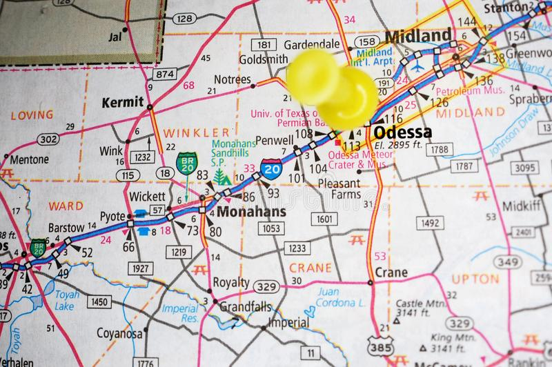 Odessa, Texas. A map of Odessa, Texas marked with a push pin stock photo