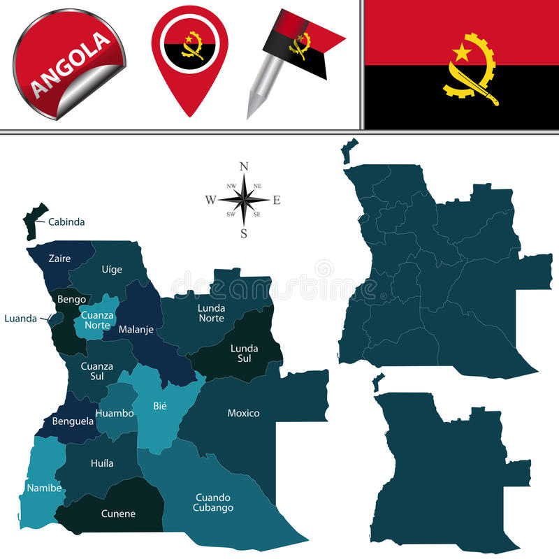 Free Map Of Angola With Named Provinces Stock Photos - 78140973