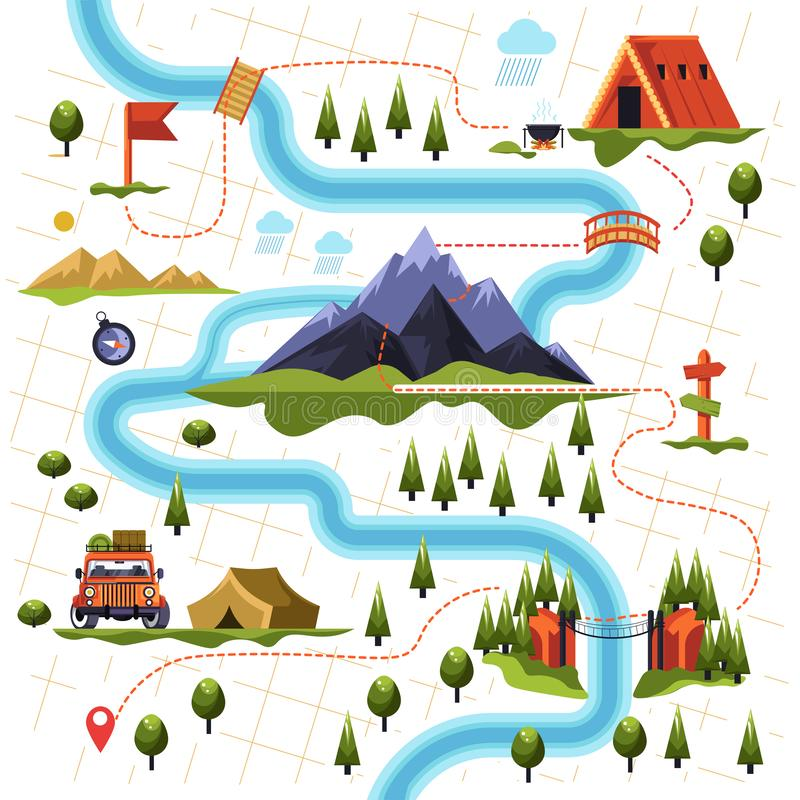 Free Map Of Forest Or Woods And Mountain Hiking Tourism Stock Image - 137165551