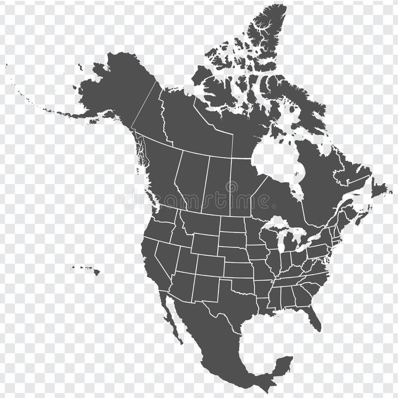 Free Map Of North America. Detailed Map Of North America With States Of The USA And Provinces Of Canada. Template. Stock Photography - 188066642