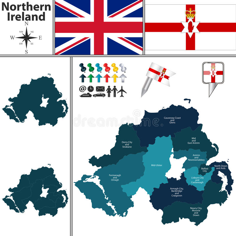 Free Map Of Northern Ireland With Subdivisions Stock Photos - 62385253