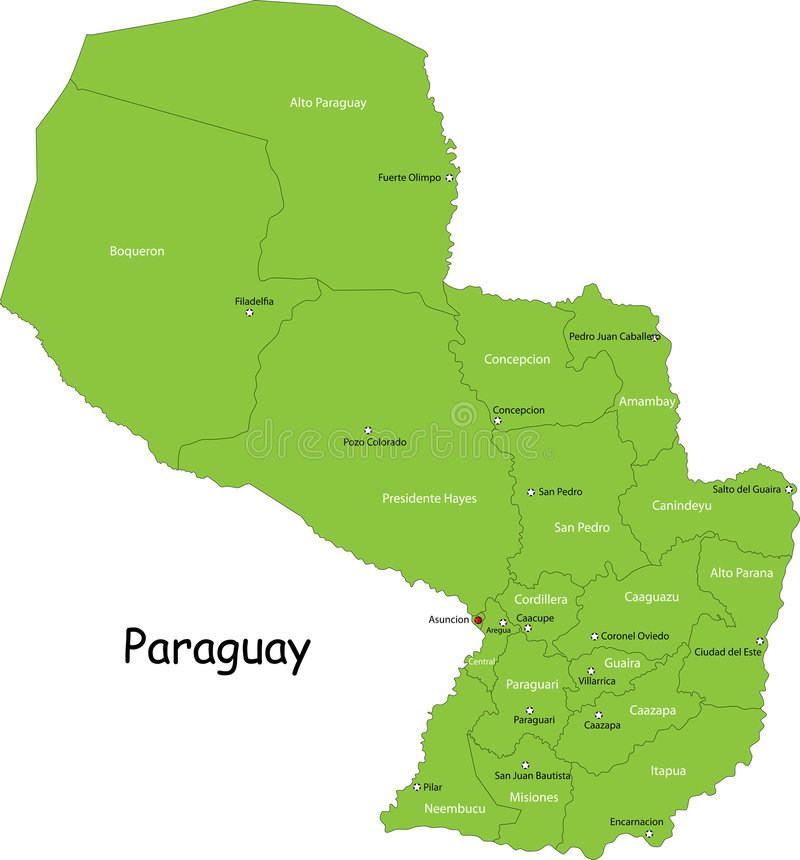 Free Map Of Paraguay Royalty Free Stock Images - 8930949