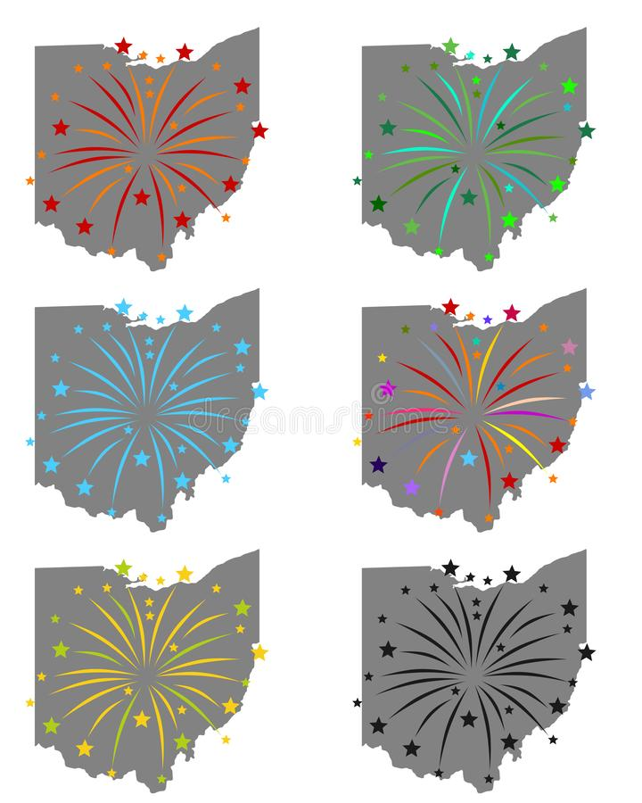 Map of Ohio with fireworks. Detailed and accurate illustration of map of Ohio with fireworks vector illustration