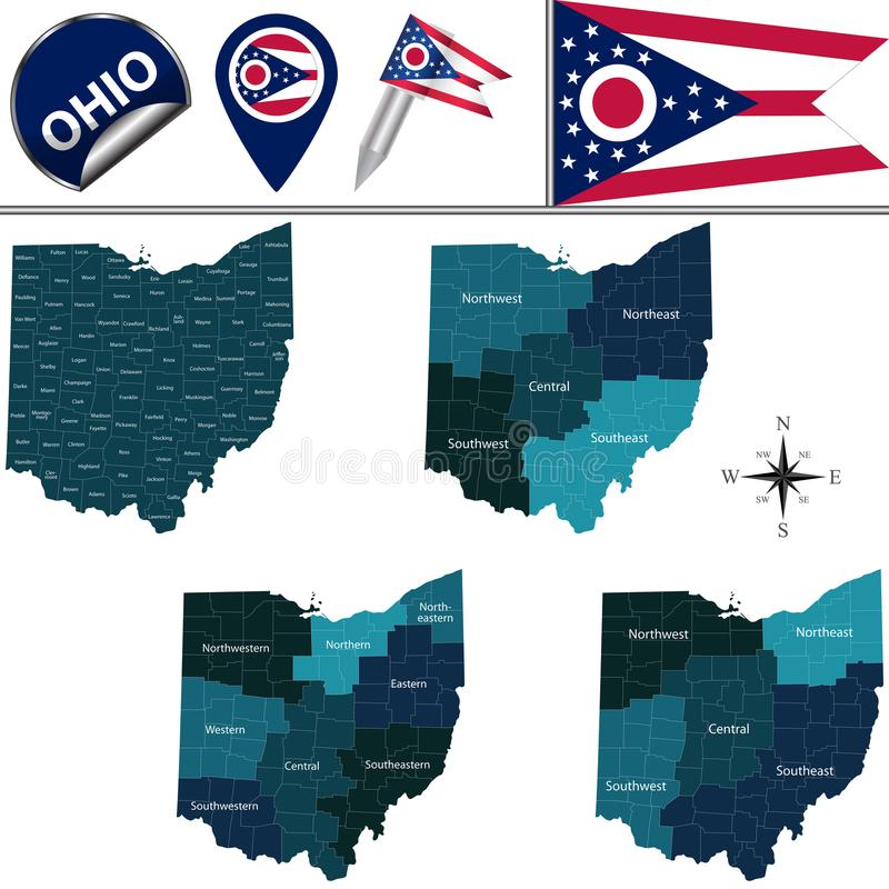 Map of Ohio with Regions. Vector map of Ohio with named regions and travel icons vector illustration