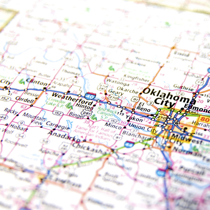 Map Of Oklahoma City Stock Photo Image - Oklahoma map usa
