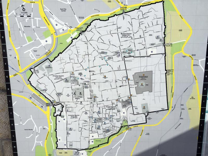 Map Of The Old City Of Jerusalem With All Districts And Quarters ...