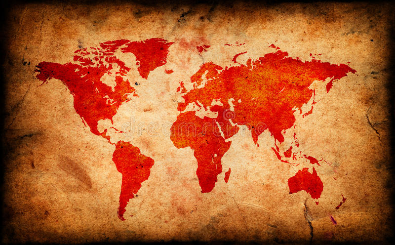 Map of the old world on Grunge paper texture vector illustration