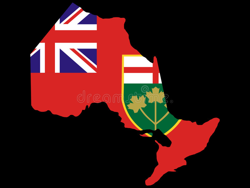 Map of Ontario. And their flag illustration vector illustration