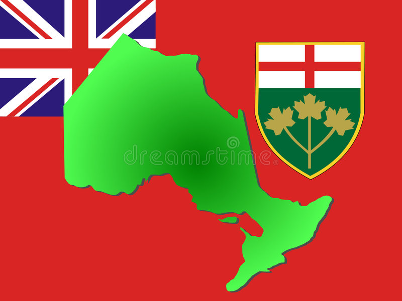 Map of Ontario. And their flag illustration royalty free illustration
