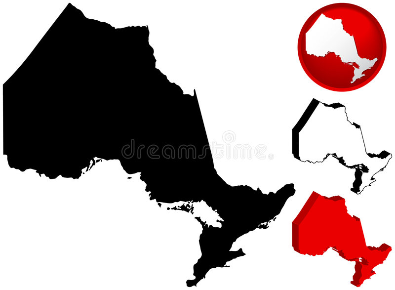 Map of Ontario, Canada. Detailed Map of Ontario, Canada with several variations vector illustration