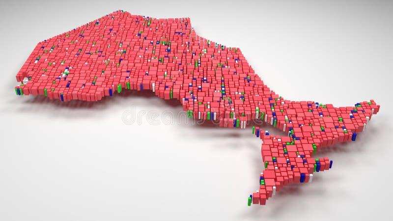 Map of Ontario - Canada -. Decorative Map of Ontario - Canada | 3D illustration rain of little bricks - Flag colors royalty free illustration