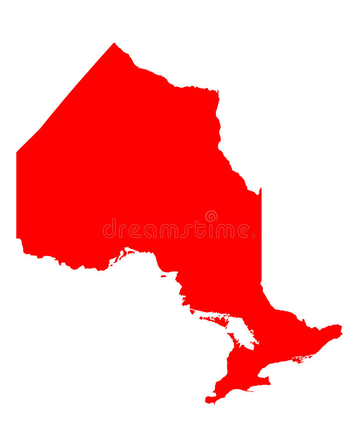 Map of Ontario. Detailed and accurate illustration of map of Ontario stock illustration
