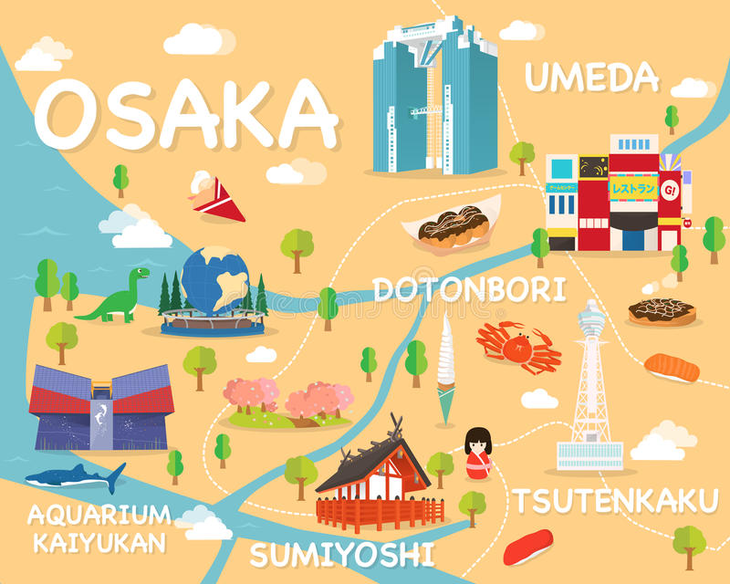 Map Of Osaka Attractions Vector And Illustration Stock Illustration