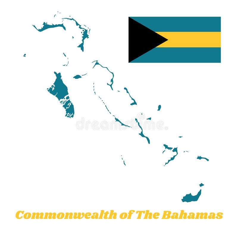 Map outline of Bahamas, a horizontal triband of aquamarine top and bottom and gold with the black chevron aligned. Map outline of Bahamas, a horizontal triband stock illustration
