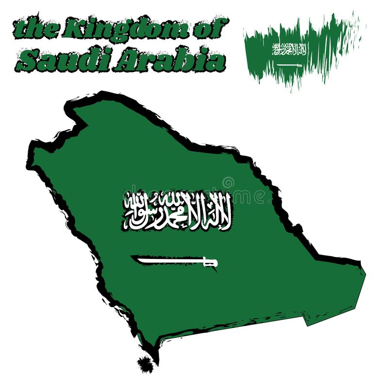 Map outline and brush style color of Saudi Arabia flag, a green field with the Shahada or Muslim creed written in the Thuluth. royalty free illustration