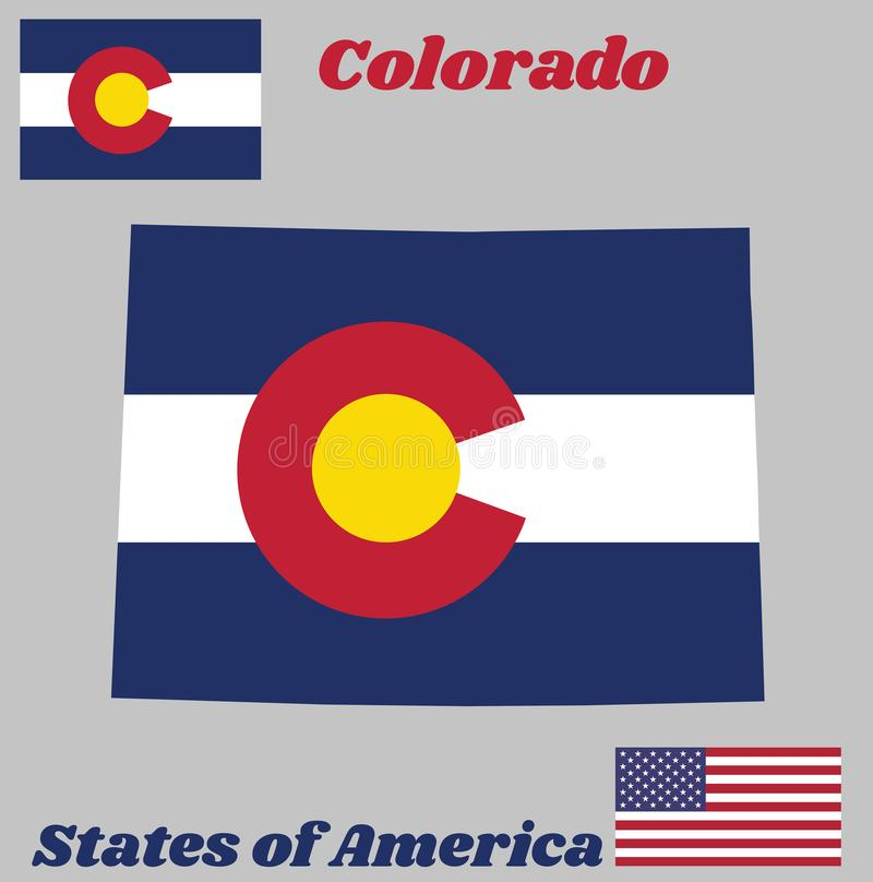 Map outline and flag of Colorado, Three horizontal stripes of blue, white, and blue. On top a circular red C. stock illustration