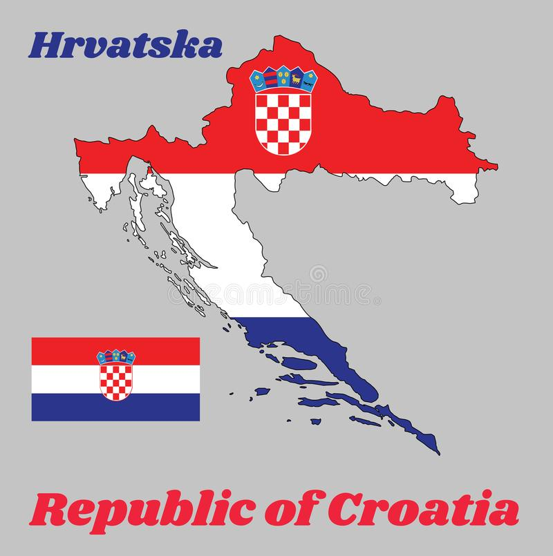 Map outline and flag of Croatia, it is a horizontal tricolor of red, white, and blue with the Coat of Arms of Croatia in center. Map outline and flag of Croatia royalty free illustration