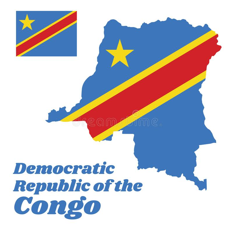 Map outline and flag of Dr Congo, Sky blue flag, adorned with a yellow star in the upper left canton and cut diagonally frame. vector illustration