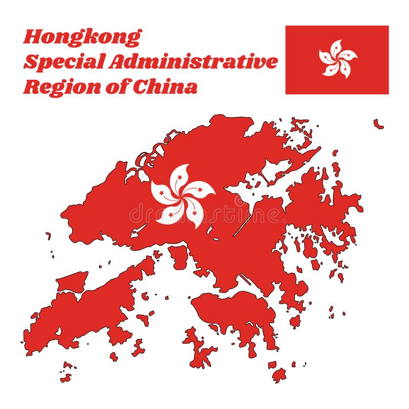 Map outline and flag of Hongkong, a stylised, white, five-petal Bauhinia blakeana flower in the centre of a red field. With name text Hong Kong Special royalty free illustration