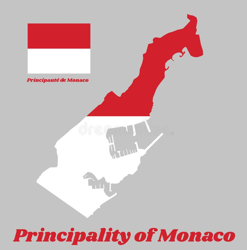 Map outline and flag of Monaco, two equal horizontal bands, red top and white bottom. royalty free illustration