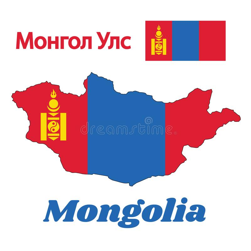 Map outline and flag of Mongolia, a vertical triband of red and blue with the Soyombo symbol centred on red band. Map outline and flag of Mongolia, a vertical vector illustration