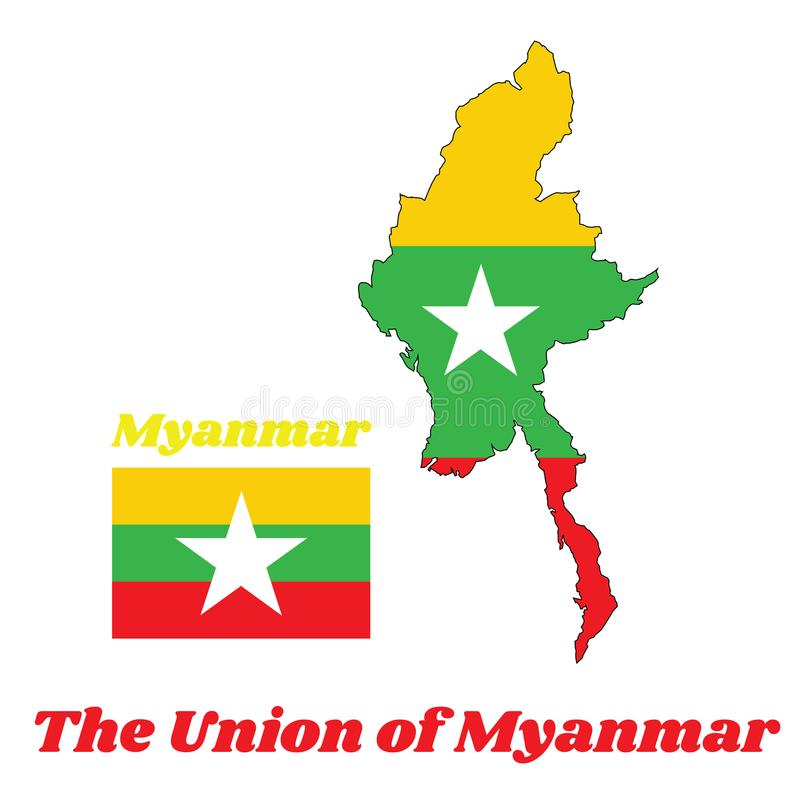 Map outline and flag of Myanmarese in red green and yellow color and white star. Map outline and flag of Myanmarese in red green and yellow color and white star stock illustration