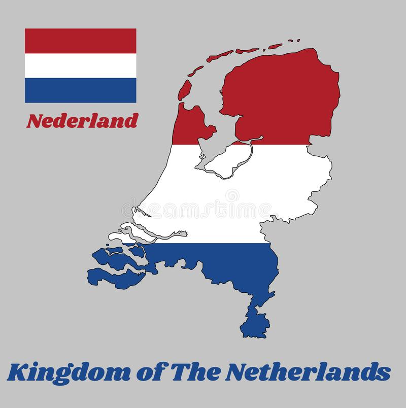 Map outline and flag of Nederland, it is a horizontal tricolor of red, white, and blue. With name text Kingdom of Netherlands vector illustration