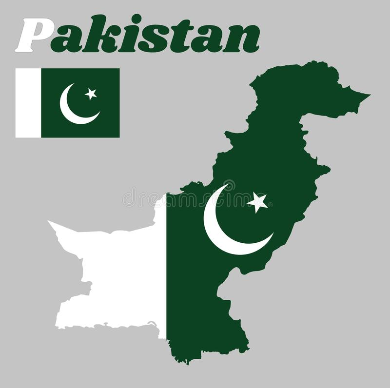 Map outline and flag of Pakistan, a white star and crescent on a dark green field, with a vertical white stripe at the hoist. vector illustration