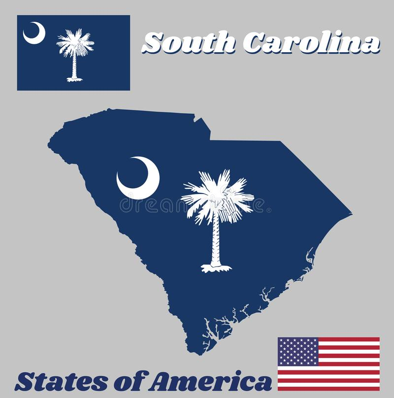 Map outline and flag of South Carolina, White palmetto tree on an indigo field. The canton contains a white crescent. With American flag stock illustration