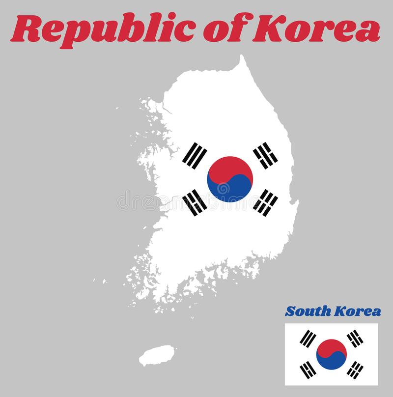 Map outline and flag of South Korea, a red and blue Taeguk, symbolizing balance on white and black line. With text Republic of Korea royalty free illustration