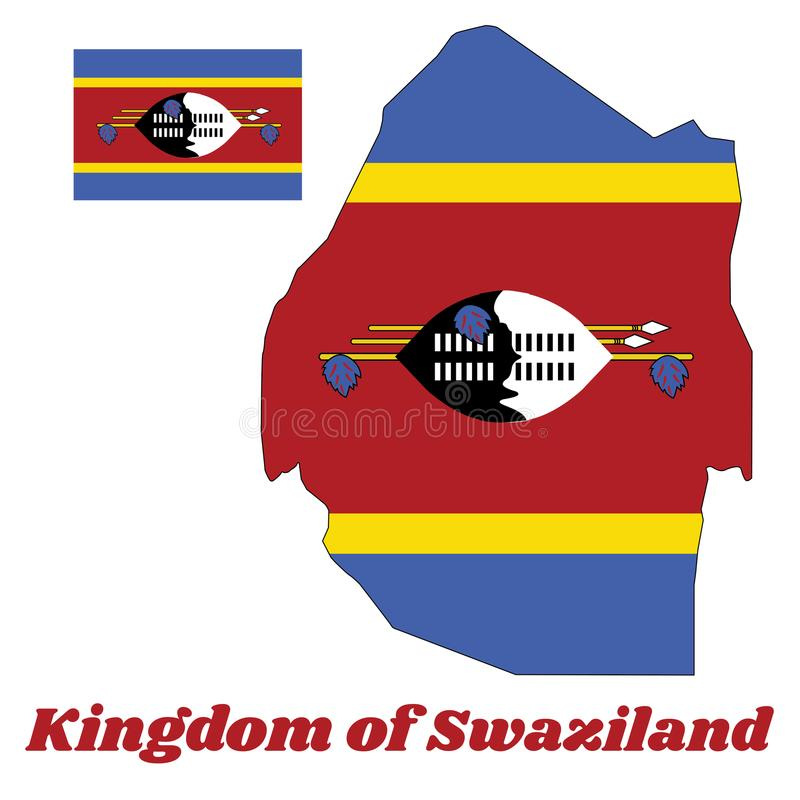 Map outline and flag of Swaziland, a horizontal triband of blue, yellow and red with the large black and white Nguni shield. royalty free illustration