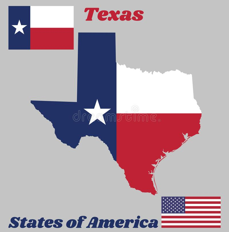 Map outline and flag of Texas, blue containing a single centered white star into a white and red bar. royalty free illustration