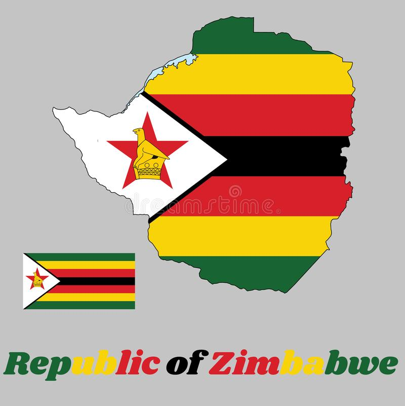 Map outline and flag of Zimbabwe, seven horizontal stripes of green, yellow, red, black, with a black-edged white isosceles trian royalty free illustration
