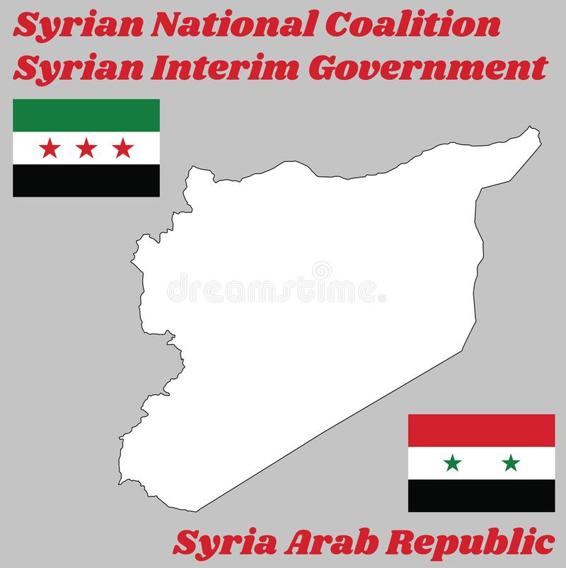 Map outline in white color and two flags of Syria, horizontal tricolour of red, white, and black with star. stock illustration