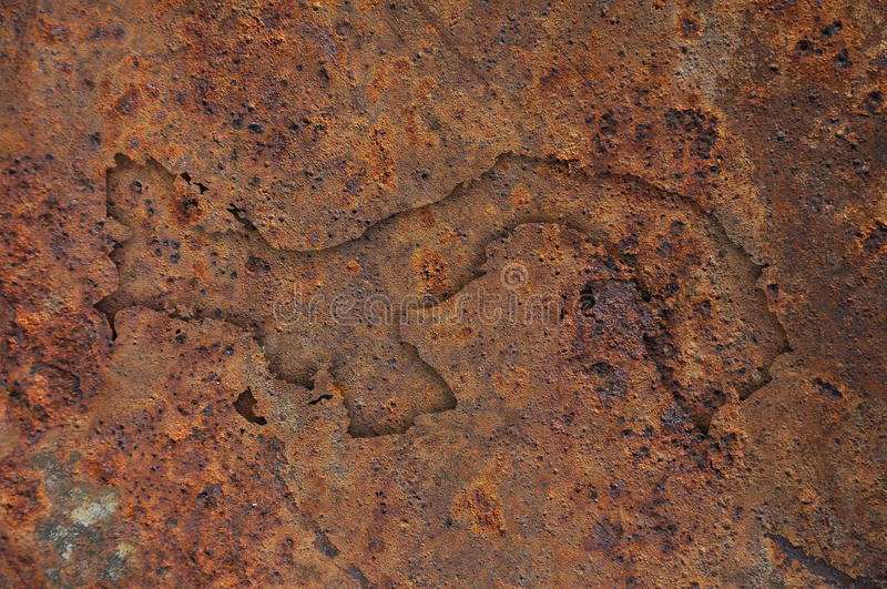 Map of Panama on rusty metal. Colorful and crisp image of map of Panama on rusty metal royalty free stock photo