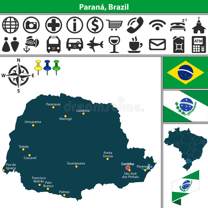 Map of Parana Brazil stock vector Illustration of state 91543113