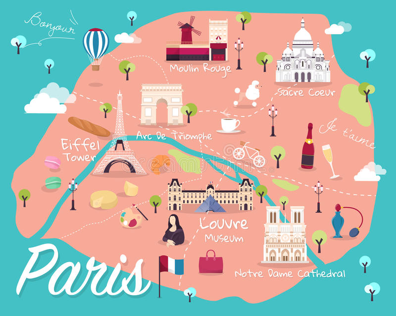 download map of paris attractions vector and illustration stock vector illustration of louvre