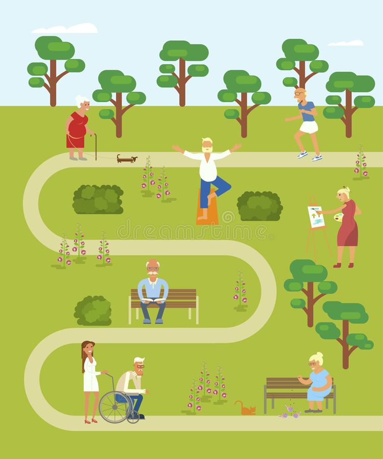 Map of the park. With walking Grandpa and grandma. Banner of Retired elderly senior age couple in flat character design. Grandparents with walking stick and royalty free illustration