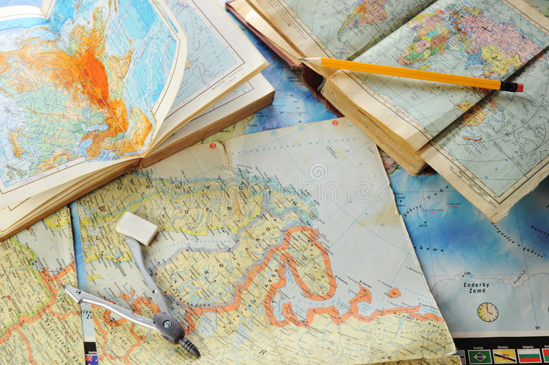 Map and pensil stock images