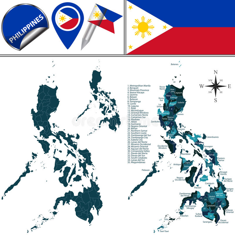 Map of Philippines with named regions. Vector map of Philippines with named regions and travel icons stock illustration